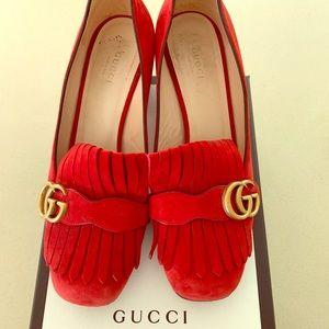 Gucci women's red suede mid heel pump